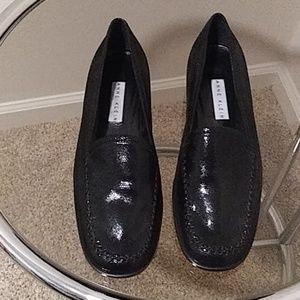 NEW Vintage Anne Klein Black Leather Flat Loafers